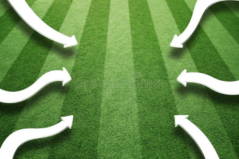 Künstliches grünes Gras playfield mit Pfeilen vektor abbildung