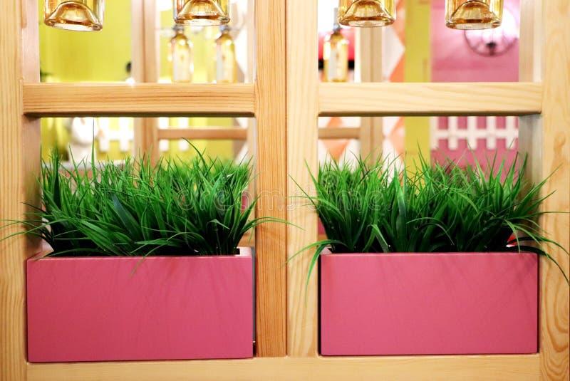 Künstliches Gras in den rosa Töpfen Innenraum des Restaurants, Café stockfotografie