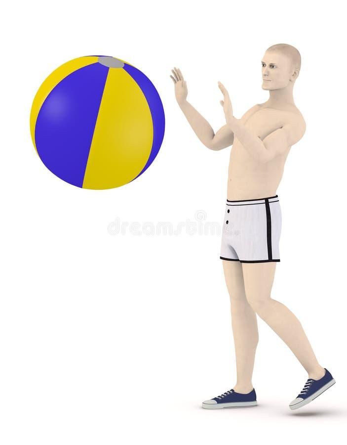 Künstliches männliches Spiel mit Wasserball lizenzfreie abbildung