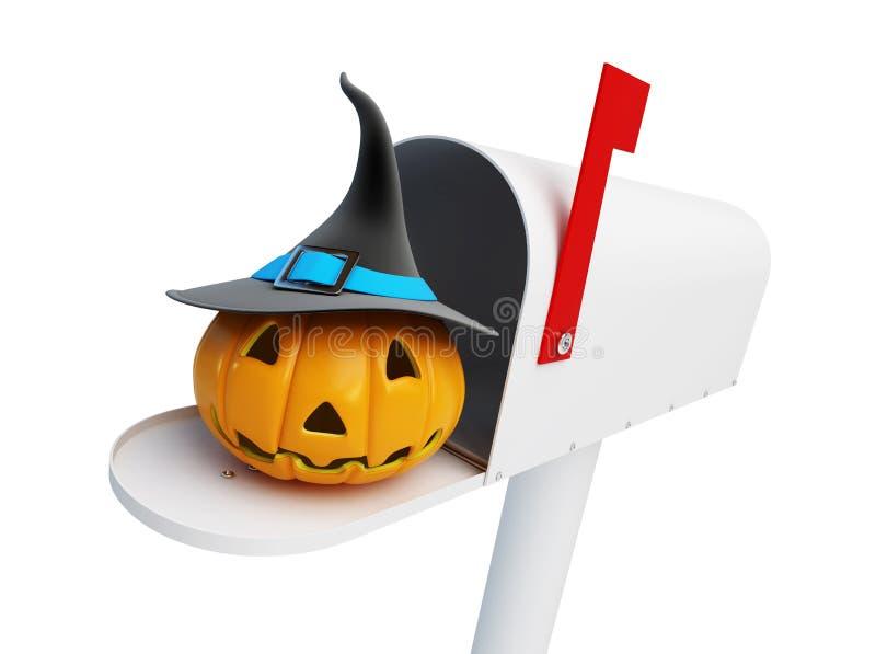 Kürbis Halloween im Briefkasten vektor abbildung