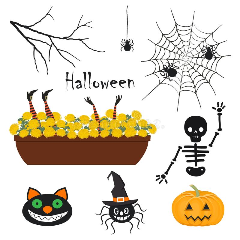 Kürbis, Hexen und noch etwas Halloween-Dekorationen lizenzfreie abbildung