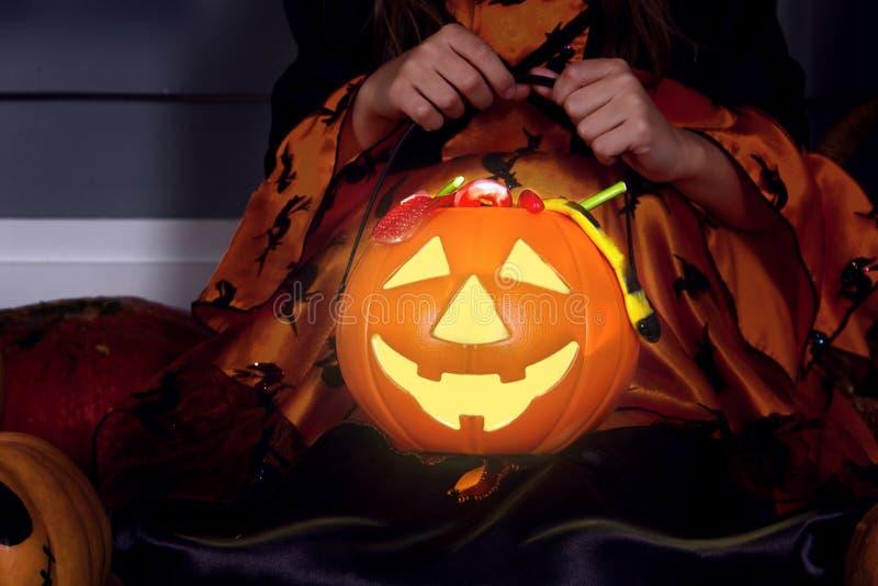 Kürbis-Korblaterne Jacks Halloween stockfoto