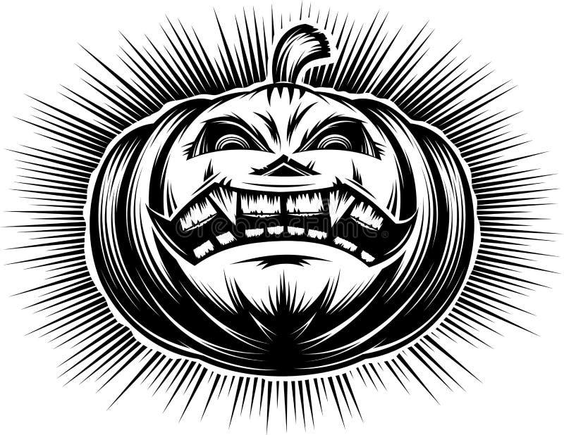 Kürbis-lächelnde Halloween-Belästigungs-Horror-gespenstische Handzeichnung stock abbildung