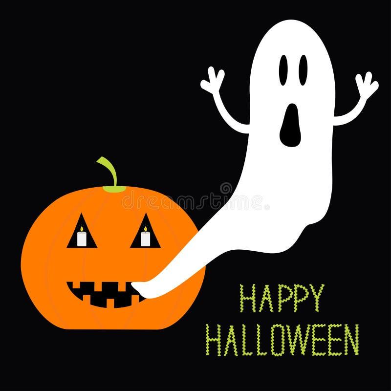 Kürbis leuchtet Fliegen-Geist-Halloween-Karte für Kinder durch Flaches Design vektor abbildung