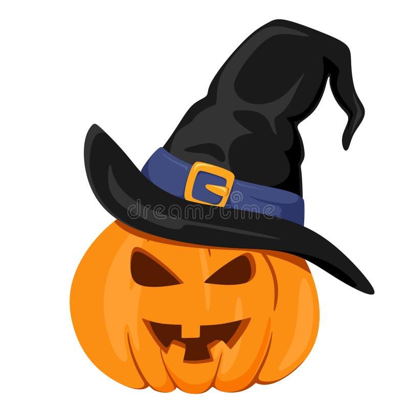 Kürbis mit dem Hut einer Hexe Gl?ckliches Halloween Vektorisolat auf wei?em Hintergrund lizenzfreie abbildung