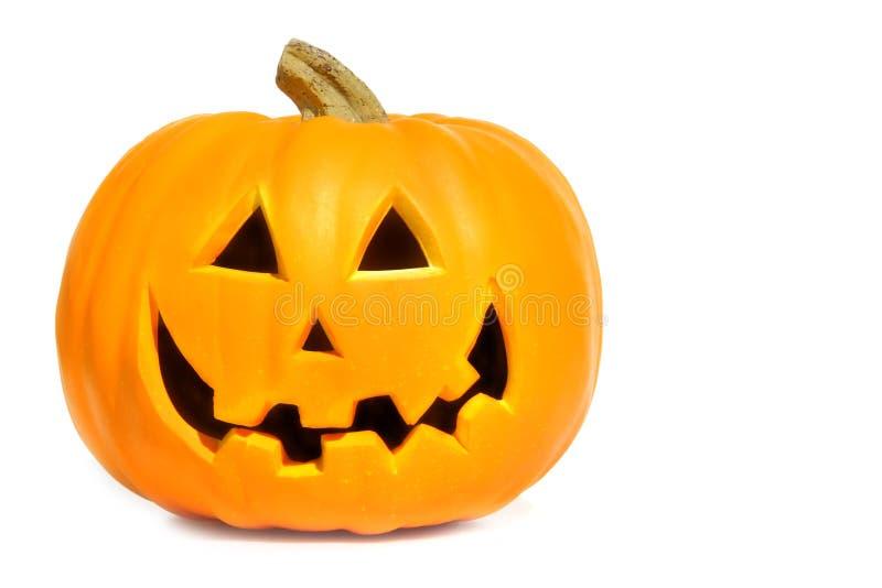 Kürbis mit Halloween-Phrasen auf Weiß stockfoto