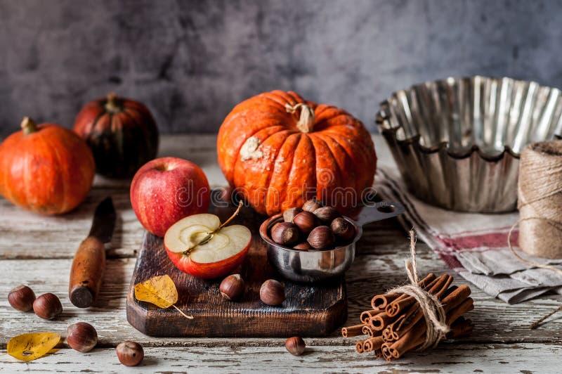 Kürbis-und Apfelkuchen-Bestandteile lizenzfreies stockbild