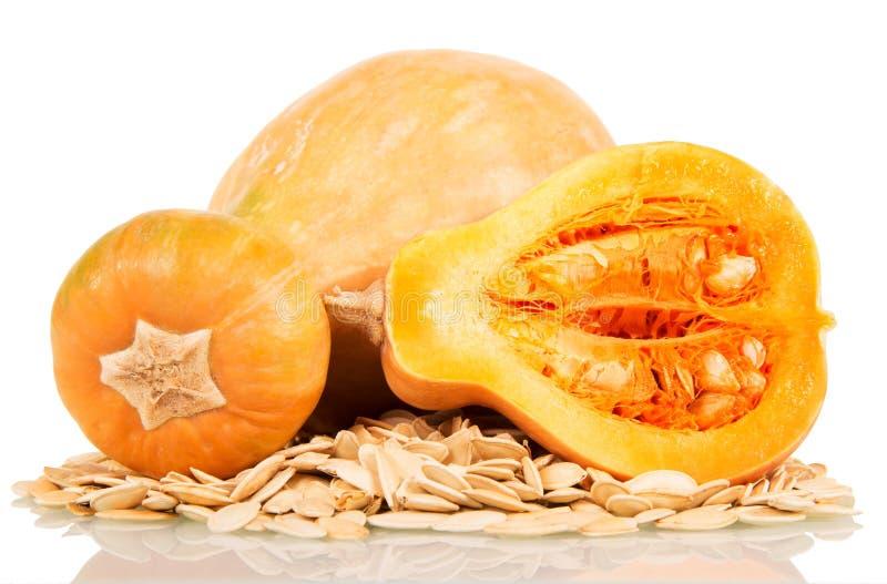 Kürbis und Samen auf weißem Hintergrund lizenzfreies stockbild