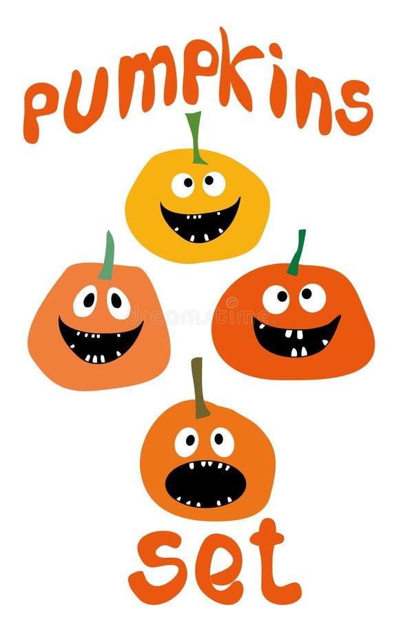 Kürbis-Vektorikonen Halloweens stellten lustige einfaches flaches Artdesign ein lizenzfreie abbildung