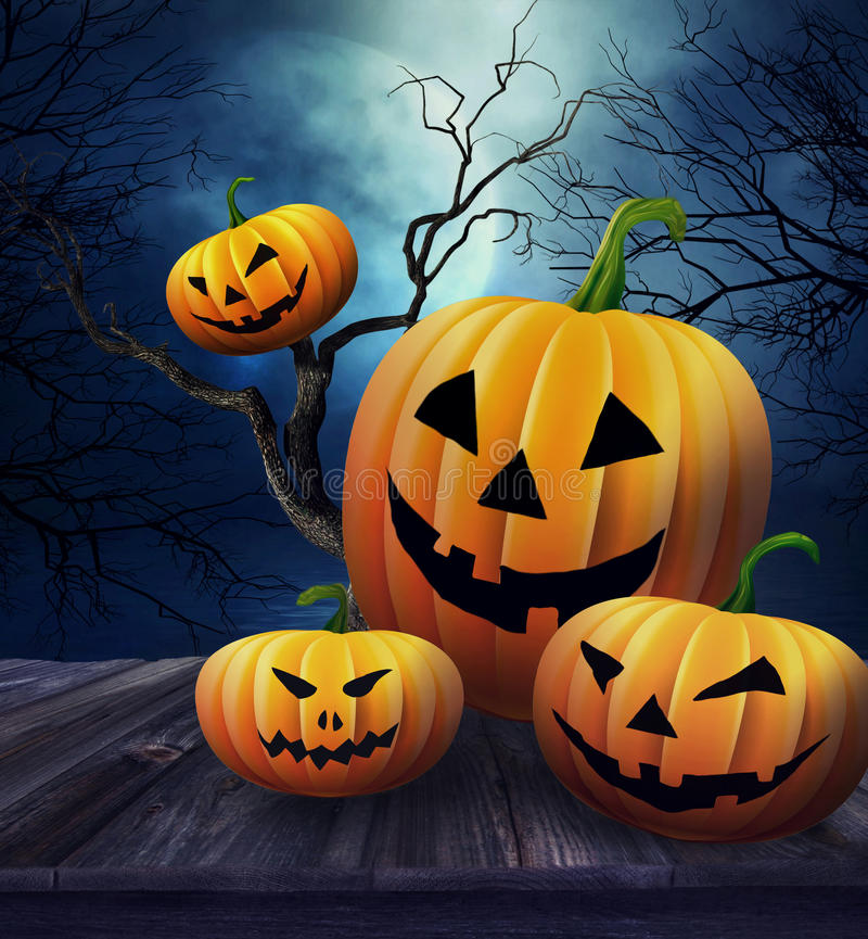 Kürbise auf Tabelle mit Halloween-Hintergrund stock abbildung