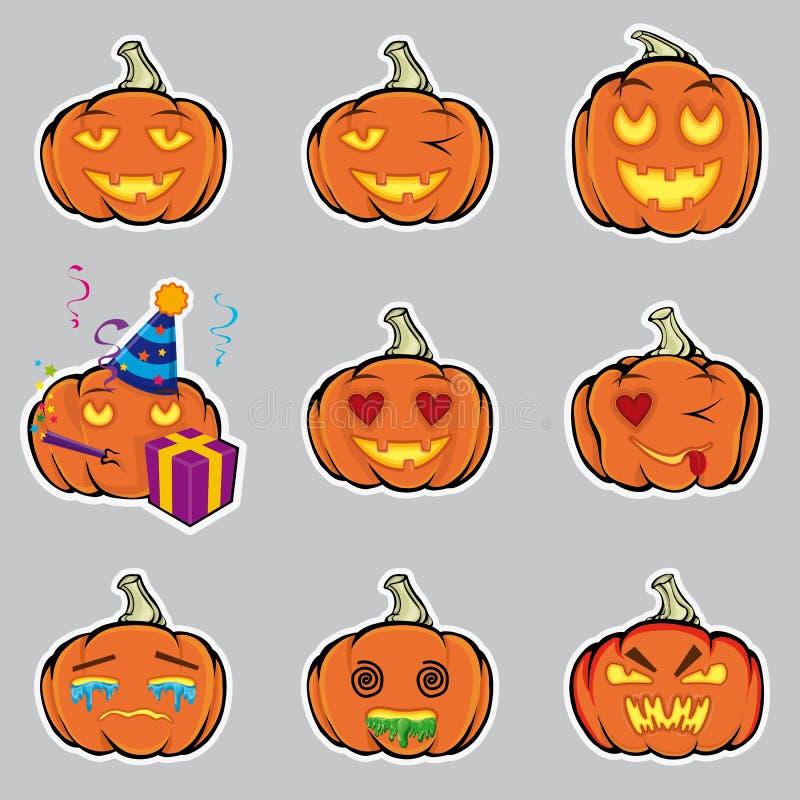 Kürbise Ein Satz emotionales Lächeln zu Halloween lizenzfreie abbildung