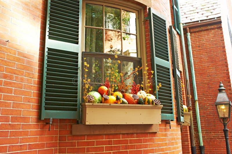 Kürbise nähern sich Hausfenster für Halloween stockfotos