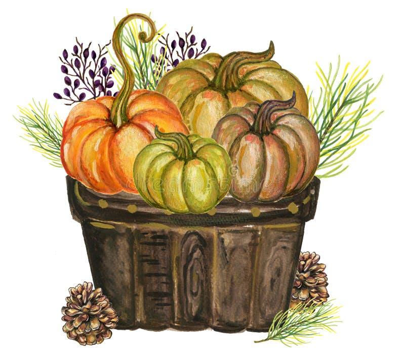 Kürbise und bunte Blätter Aquarellgouache Autumn Fall Hand lizenzfreie stockbilder