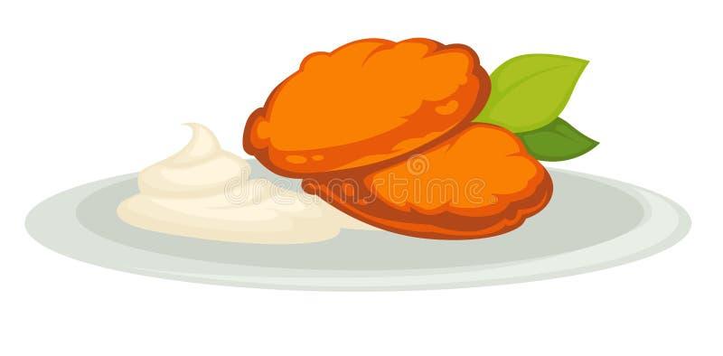 Kürbiskoteletts und -Sahne auf Platte lokalisiertem vegetarischem Teller vektor abbildung