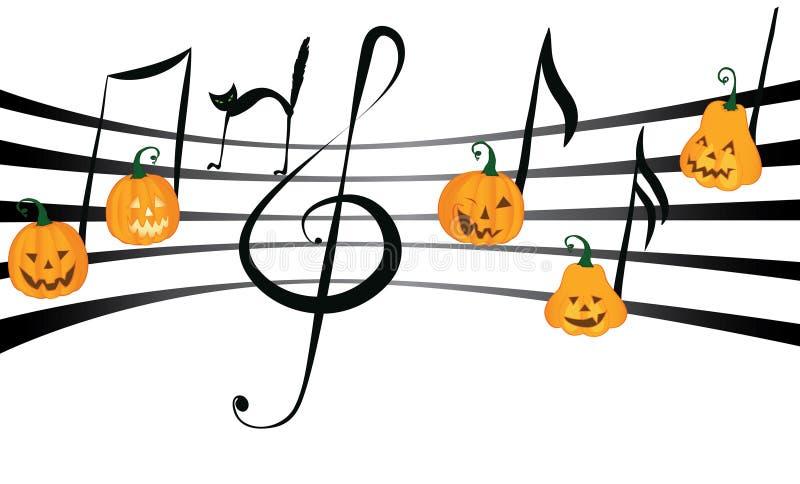 Kürbismusik auf Anmerkungspersonal stock abbildung
