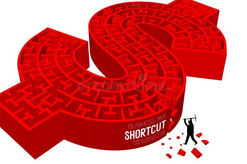Kürzen Sie Dollarzeichenform Geschäftson-line-Labyrinth-oder -labyrinth Währung USDs Vereinigte Staaten mit Geschäftsmann, Design lizenzfreie abbildung