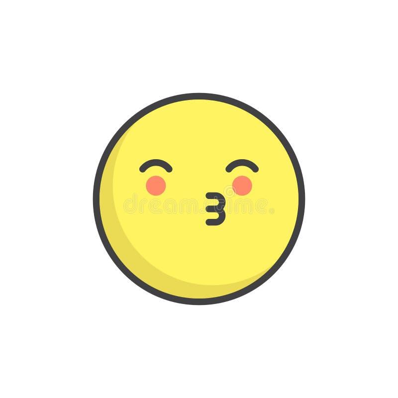Küssen gefüllten Entwurfsikone des Gesichtes der Emoticon stock abbildung