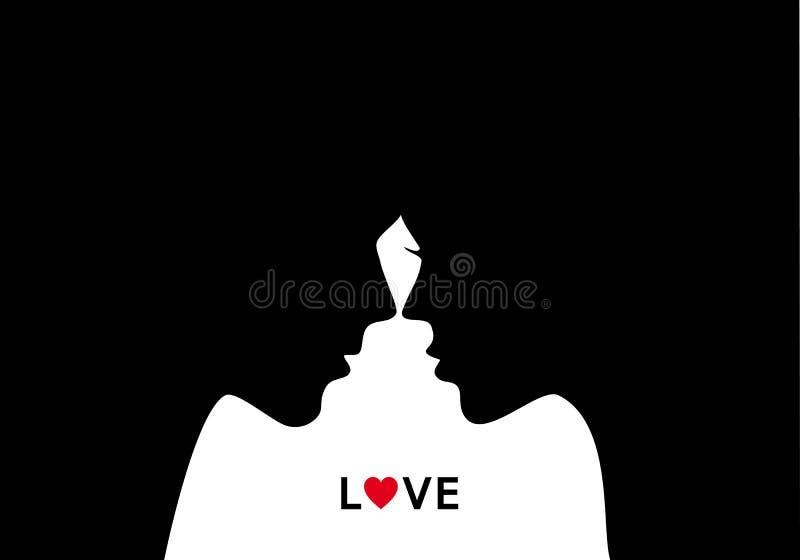 Küssen von Paaren in der Liebe, Vektor lizenzfreie abbildung