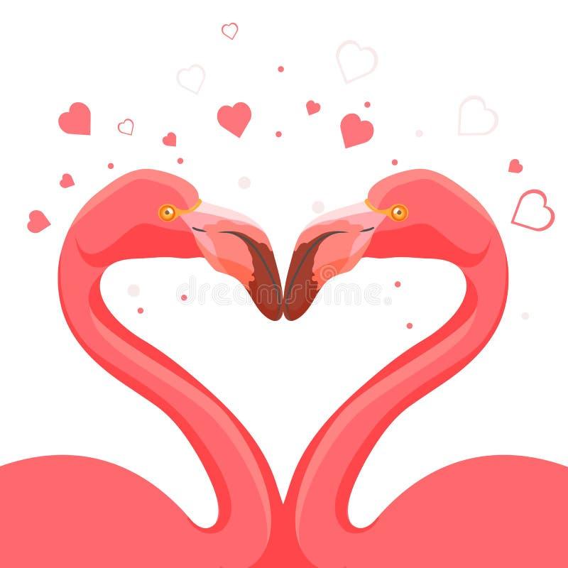 Küssende Liebe des rosa Flamingos von Vögeln vector Illustration lizenzfreie abbildung