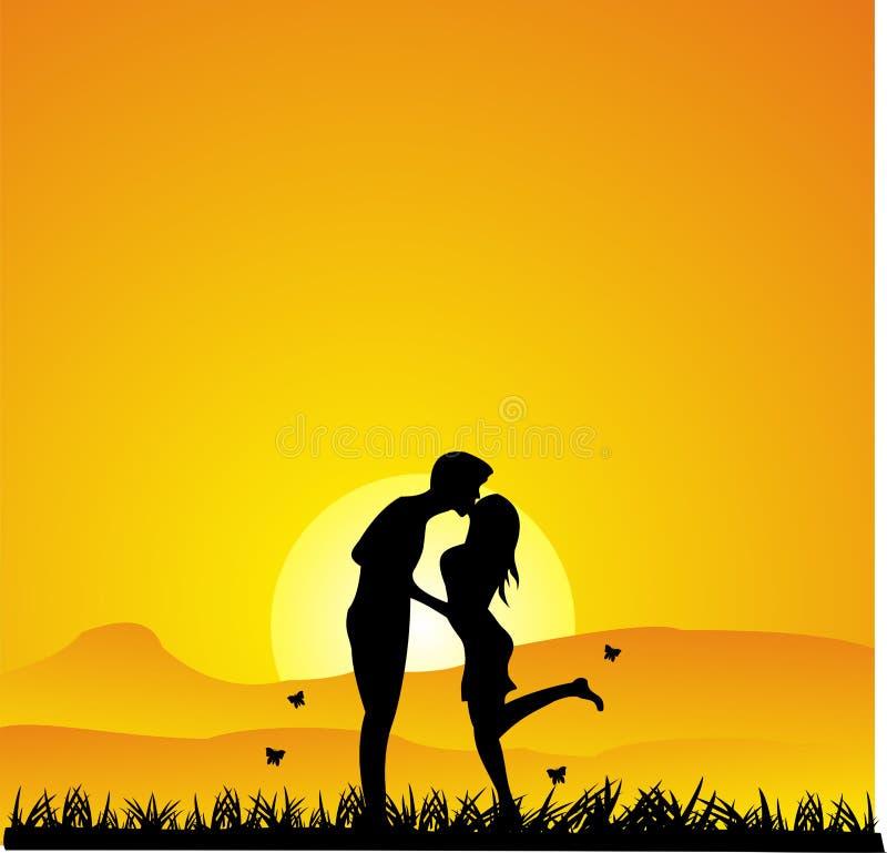 Küssendes Schattenbild des Sonnenuntergangs lizenzfreie stockfotos