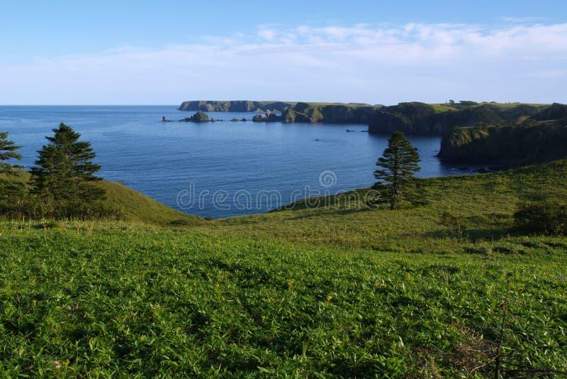 Küste der Shikotan Insel stockfoto