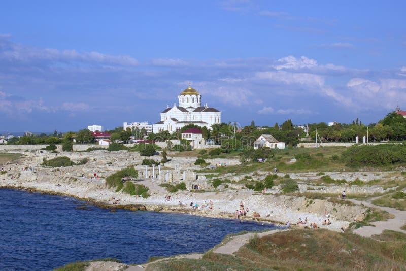 Küste der Stadt von Sewastopol stockfoto