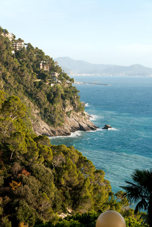 Download Küste in Ligurien stockbild. Bild von kiefer, felsen - 26359395