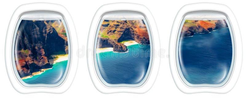 Küste Na Pali auf Fenster lizenzfreies stockbild
