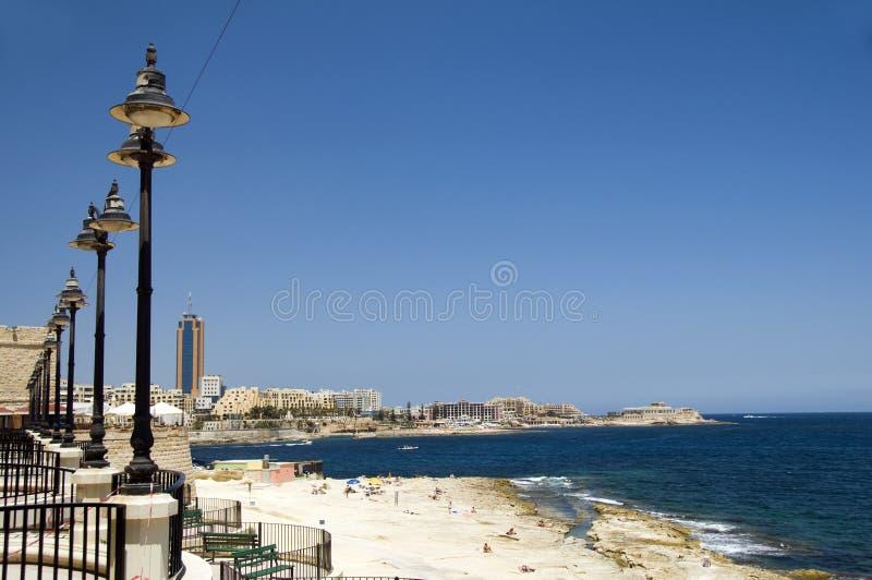 Küste sliema Malta lizenzfreies stockfoto