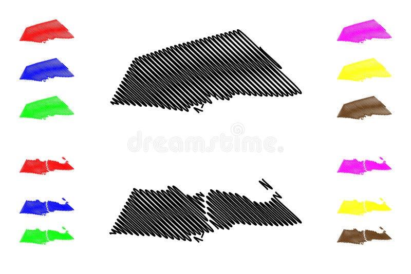 Küstenabteilungs-Abteilungen von Benin, Republik Benin, Dahomey Karten-Vektorillustration, Gekritzelskizzen-Küstenkarte stock abbildung