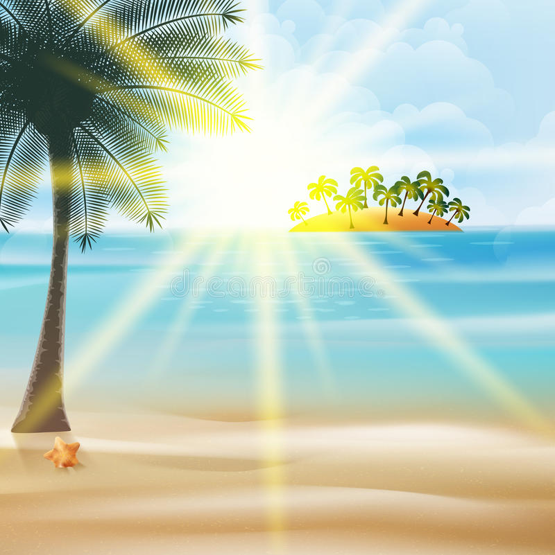 Küstenansichtplakat mit Palmen. lizenzfreie abbildung