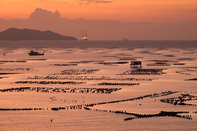 Küstenfischereien im sriracha, Thailand stockfotos
