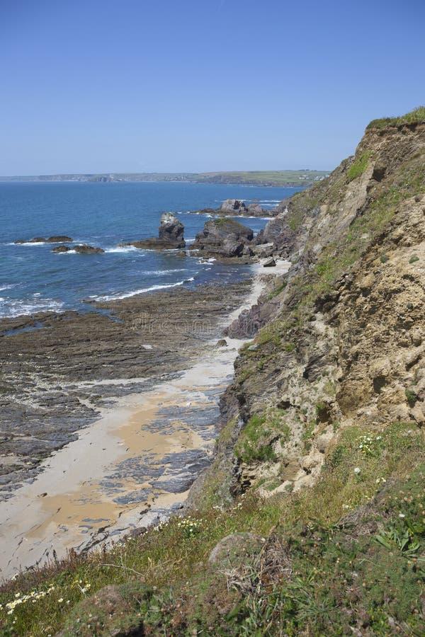 Küstenlinie an der Hoffnungs-Bucht, Devon, England stockfotografie