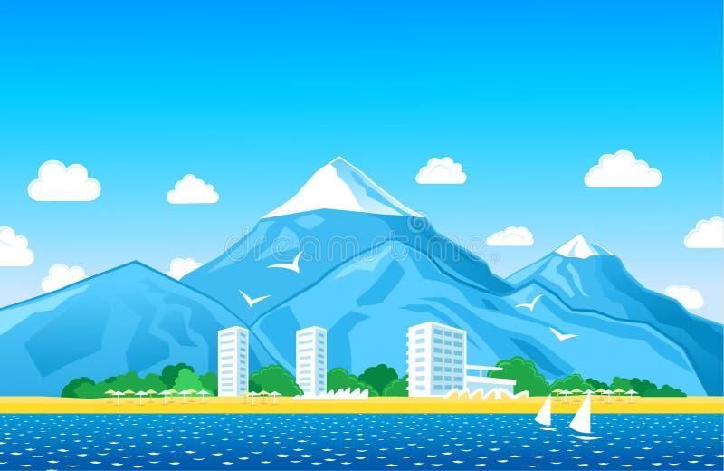 Küstenlinie mit Bergen stockfotos