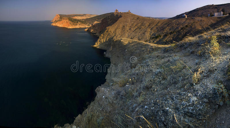 Küstenlinie von Balaklava, Ukraine lizenzfreies stockbild