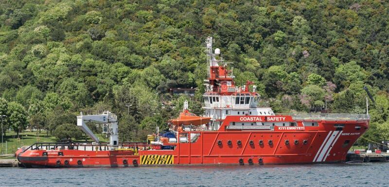 Küstensicherheits-Boot Istanbul, die Türkei stockbild