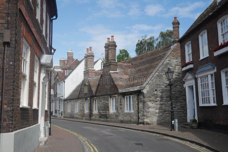 Küstenstadt-England-Hintergasse Poole Dorset kleine historische georgische Häuser stockbilder
