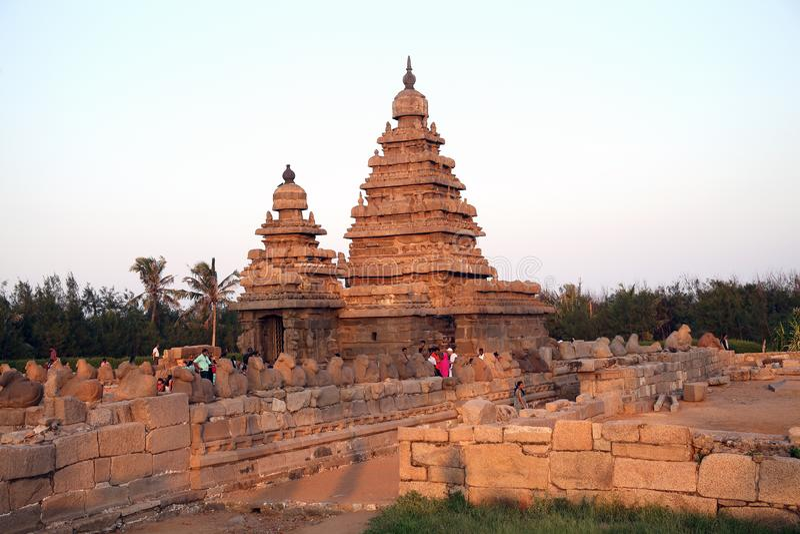 Küstentempel im mamallapuram, Chennai, Tamilnadu lizenzfreie stockbilder