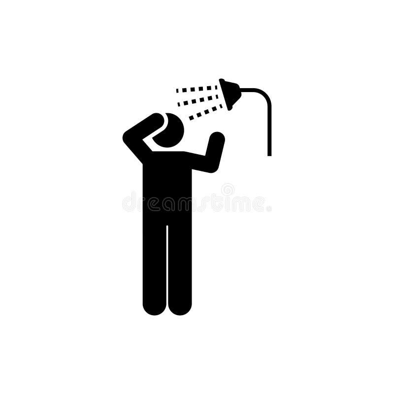 Kąpać się, brać prysznić, czysty, hotelowy, mężczyzna ikona Element hotelowa piktogram ikona Premii ilo?ci graficznego projekta i royalty ilustracja