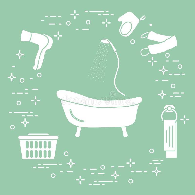 Kąpać się, brać prysznić, suszarka, washcloths, ręcznik, kosz royalty ilustracja