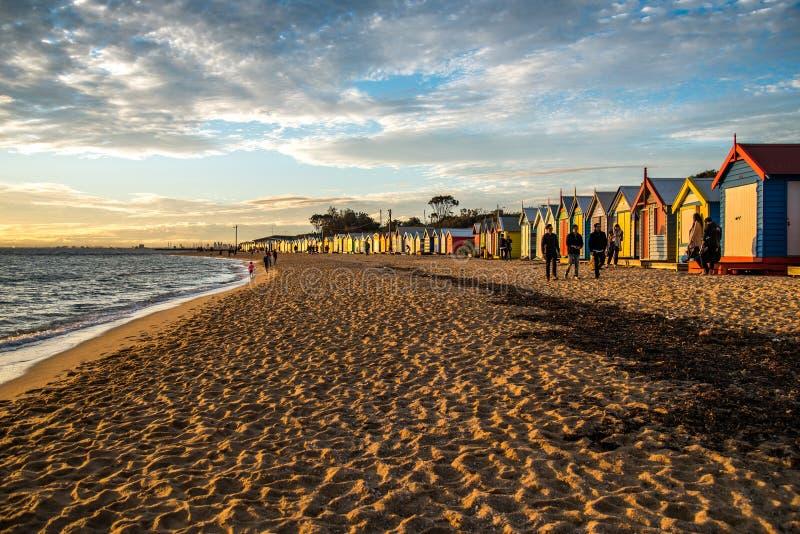 Kąpać się pudełka przy Brighton plażą, Melbourne obrazy royalty free