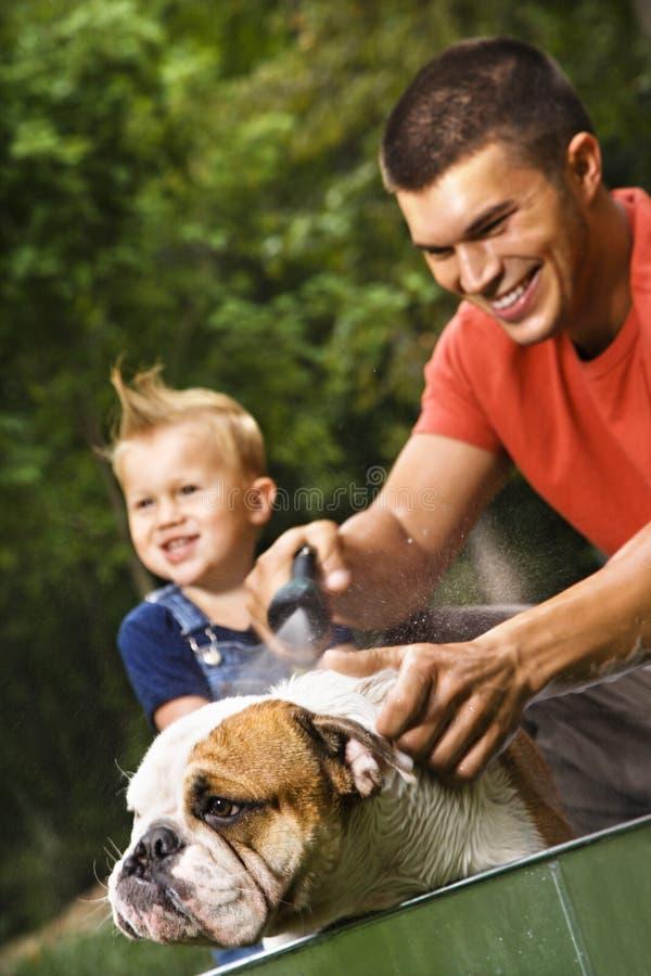 kąpiel psa do rodziny obraz stock