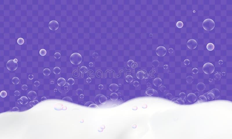 Kąpielowa piana z mydlanymi bąblami odizolowywającymi na przejrzystym tle cleaning pojęcia dishwashing ciecza gąbki royalty ilustracja