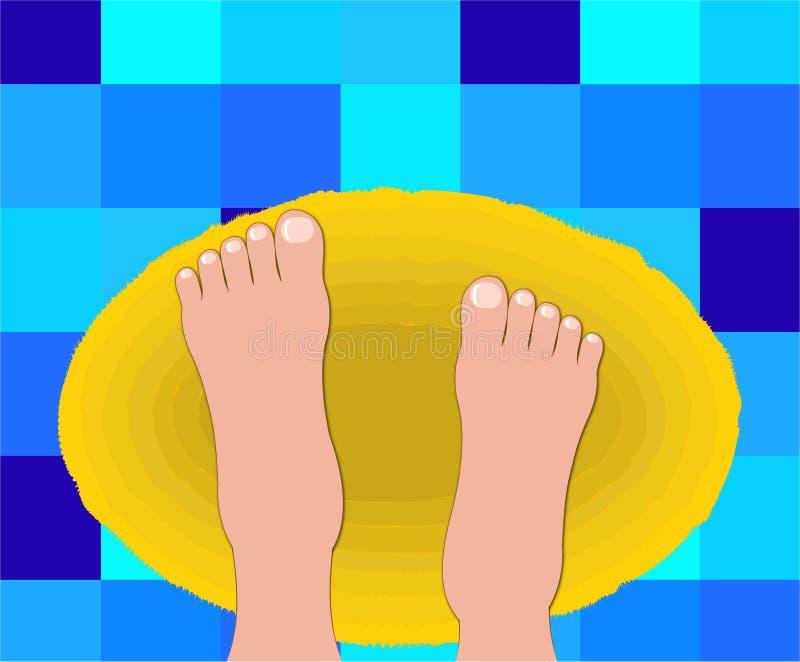 kąpielowe stopy dywanowi dziewczyna pokoju royalty ilustracja