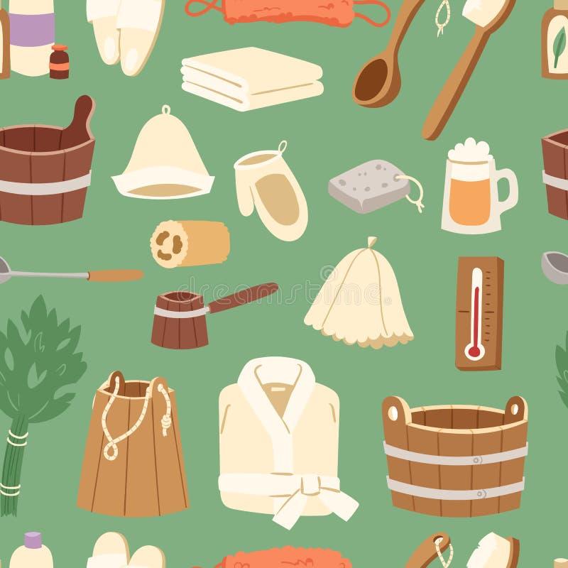 Kąpielowego domowego wektorowego sauna gorącej wody zdroju opieki zdrowotnej pojęcia łazienki miotły sauna wiadra termal parowa i royalty ilustracja