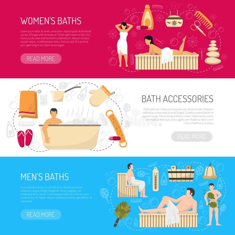 Kąpielowego Sauna zdroju Horyzontalni sztandary Ustawiający ilustracji