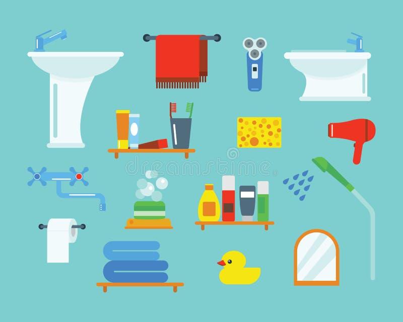 Kąpielowego wyposażenie ikon prysznic mieszkania stylu klamerki sztuki kolorowa ilustracja dla łazienki higieny wektorowego proje ilustracja wektor