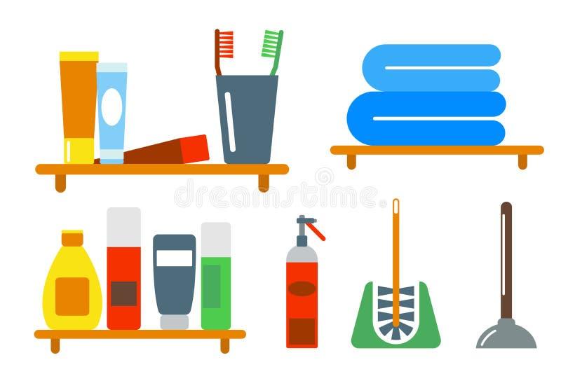 Kąpielowego wyposażenie ikon prysznic mieszkania stylu klamerki sztuki kolorowa ilustracja dla łazienki higieny wektorowego proje ilustracji