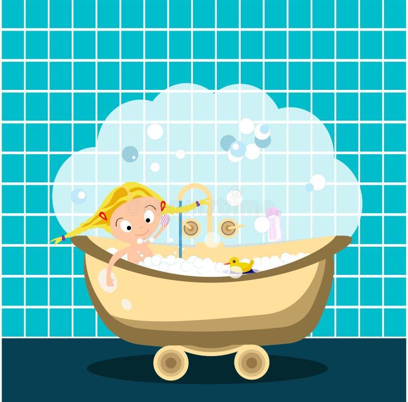kąpielowej dziewczyny mały zabranie Udziały bąble i kaczka również zwrócić corel ilustracji wektora royalty ilustracja