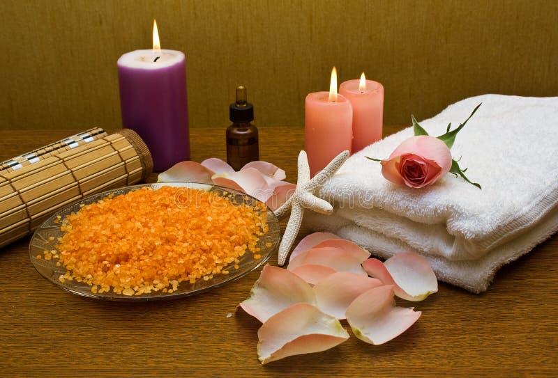 kąpielowy menchii róży soli ręcznik obrazy royalty free
